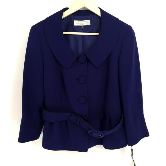 Tahari Jackets & Blazers - Tahari Purple Trapeze Jacket With Belt
